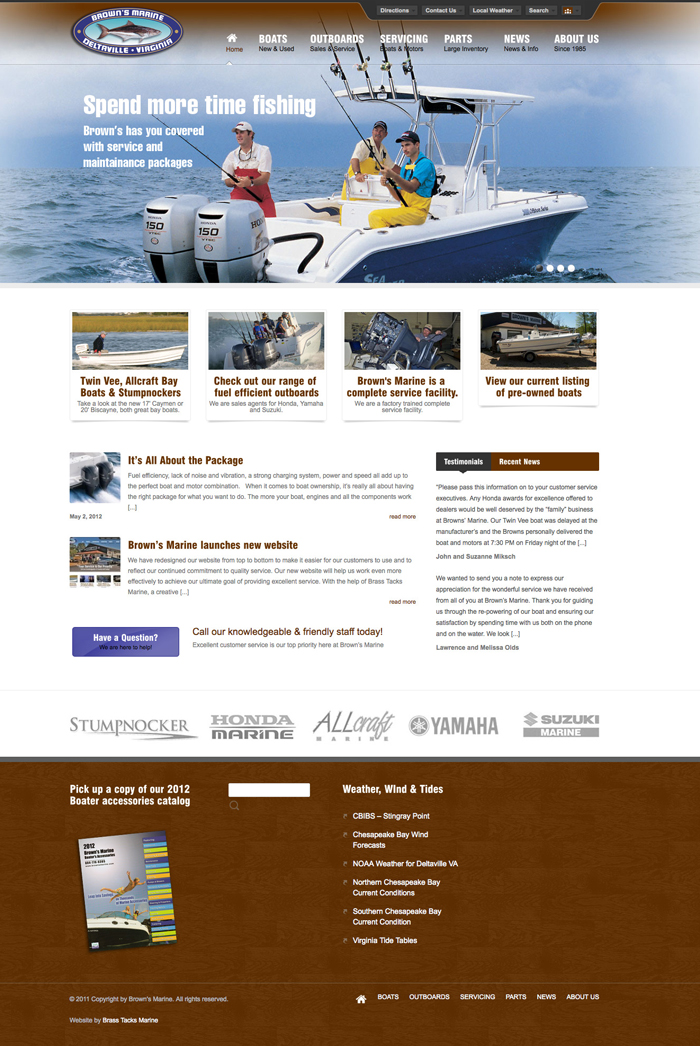 brown's marine website snapshot image